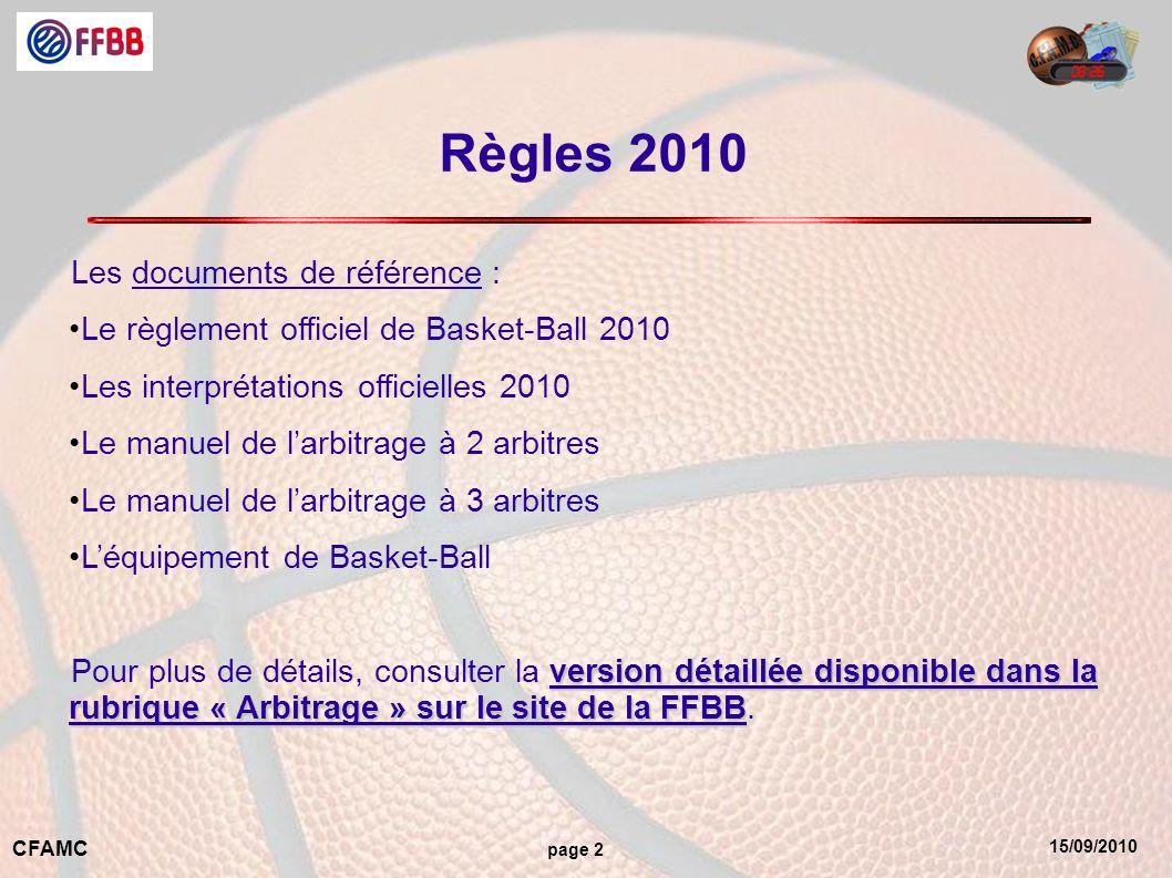 15/09/2010 CFAMC page 2 Règles 2010 Les documents de référence : Le règlement officiel de Basket-Ball 2010 Les interprétations officielles 2010 Le manuel de larbitrage à 2 arbitres Le manuel de larbitrage à 3 arbitres Léquipement de Basket-Ball version détaillée disponible dans la rubrique « Arbitrage » sur le site de la FFBB Pour plus de détails, consulter la version détaillée disponible dans la rubrique « Arbitrage » sur le site de la FFBB.