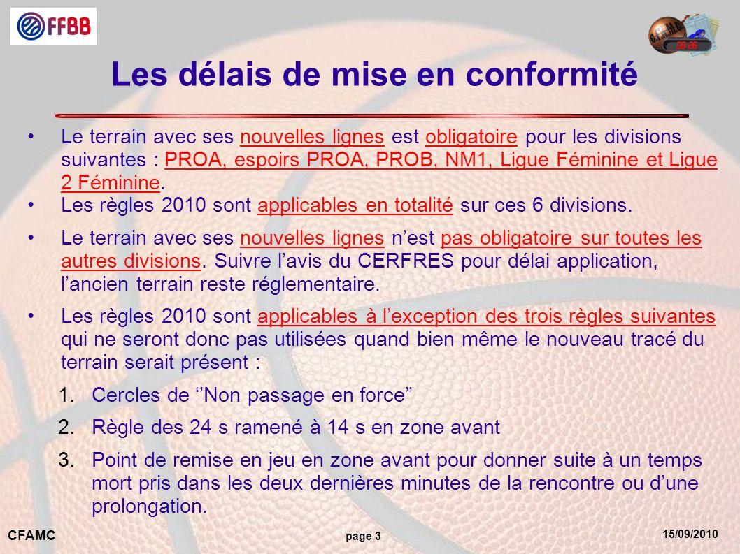 15/09/2010 CFAMC page 3 Les délais de mise en conformité Le terrain avec ses nouvelles lignes est obligatoire pour les divisions suivantes : PROA, espoirs PROA, PROB, NM1, Ligue Féminine et Ligue 2 Féminine.
