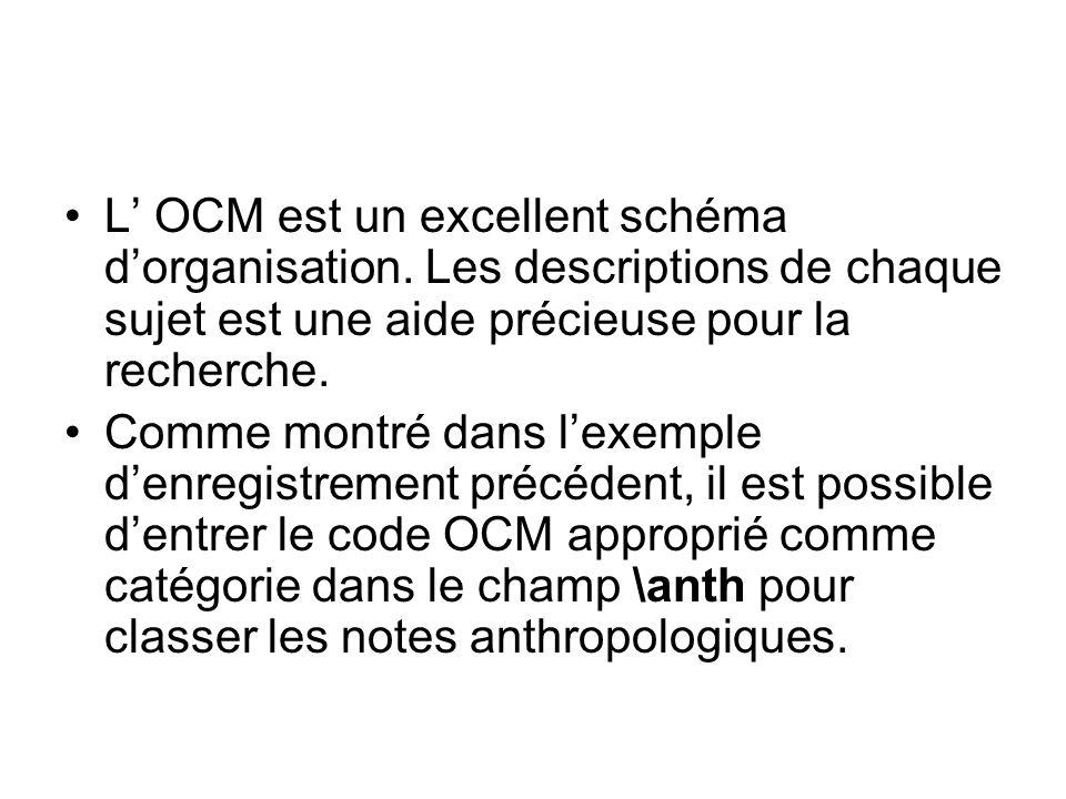 L OCM est un excellent schéma dorganisation. Les descriptions de chaque sujet est une aide précieuse pour la recherche. Comme montré dans lexemple den