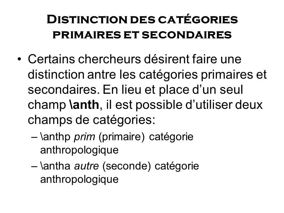 Distinction des catégories primaires et secondaires Certains chercheurs désirent faire une distinction antre les catégories primaires et secondaires.
