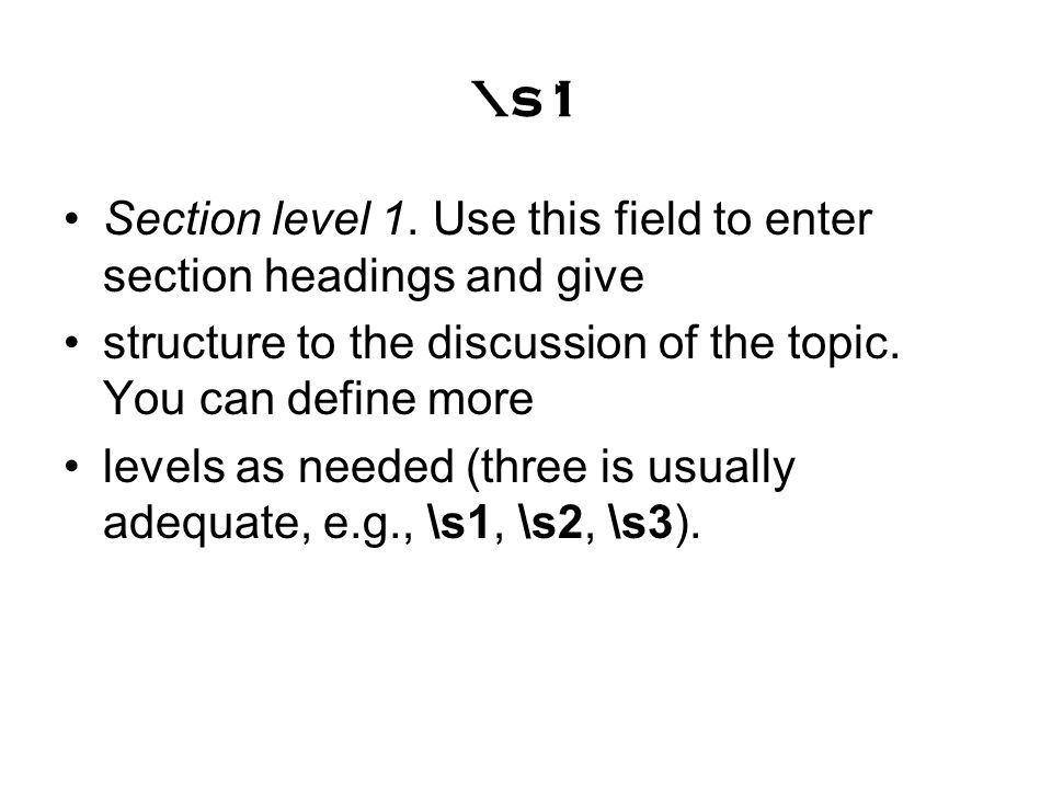 \s1 Section level 1.