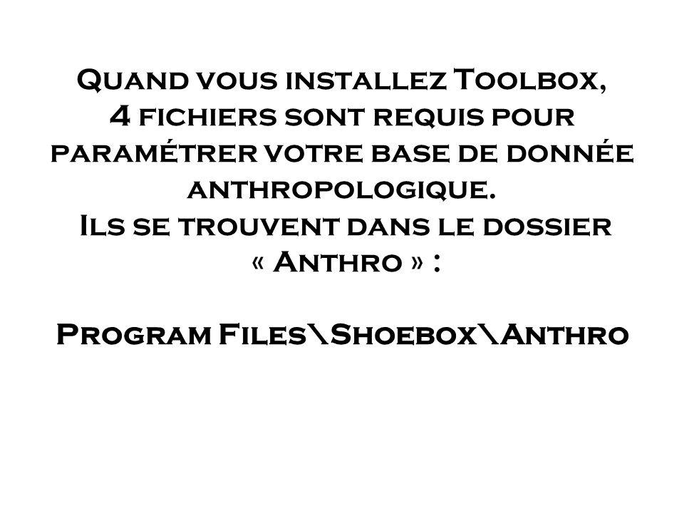 Quand vous installez Toolbox, 4 fichiers sont requis pour paramétrer votre base de donnée anthropologique. Ils se trouvent dans le dossier « Anthro »