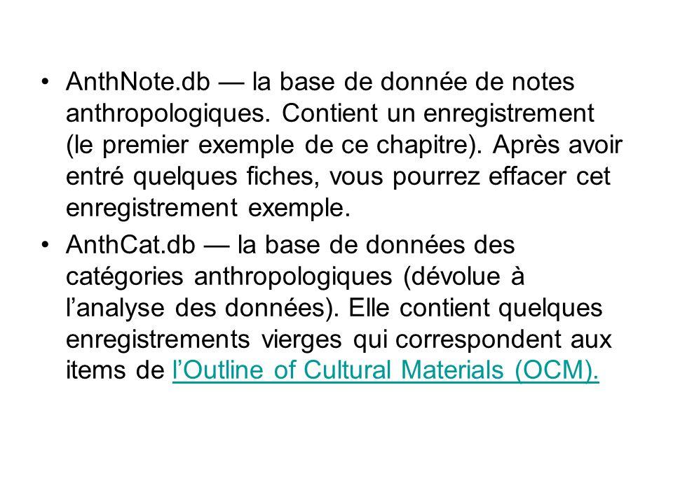 Base de données danalyse anthropologique La base de données danalyse anthropologique a comme fonction dorganiser et de compiler les résultats, les conclusions et les analyses des sujets culturels spécifiques.