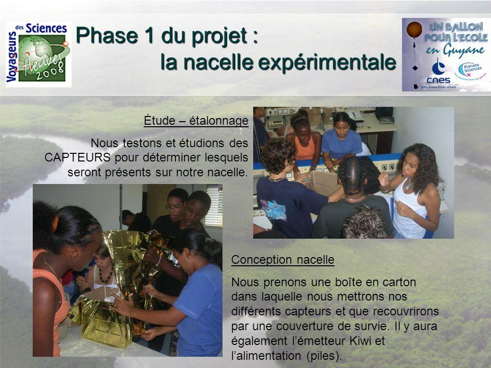 Phase 1 du projet : la nacelle expérimentale Étude – étalonnage Nous testons et étudions des CAPTEURS pour déterminer lesquels seront présents sur not