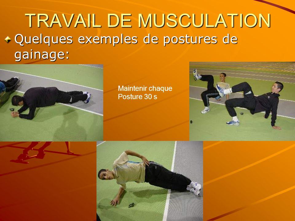 TRAVAIL DE MUSCULATION Quelques exemples de postures de gainage: Maintenir chaque Posture 30 s