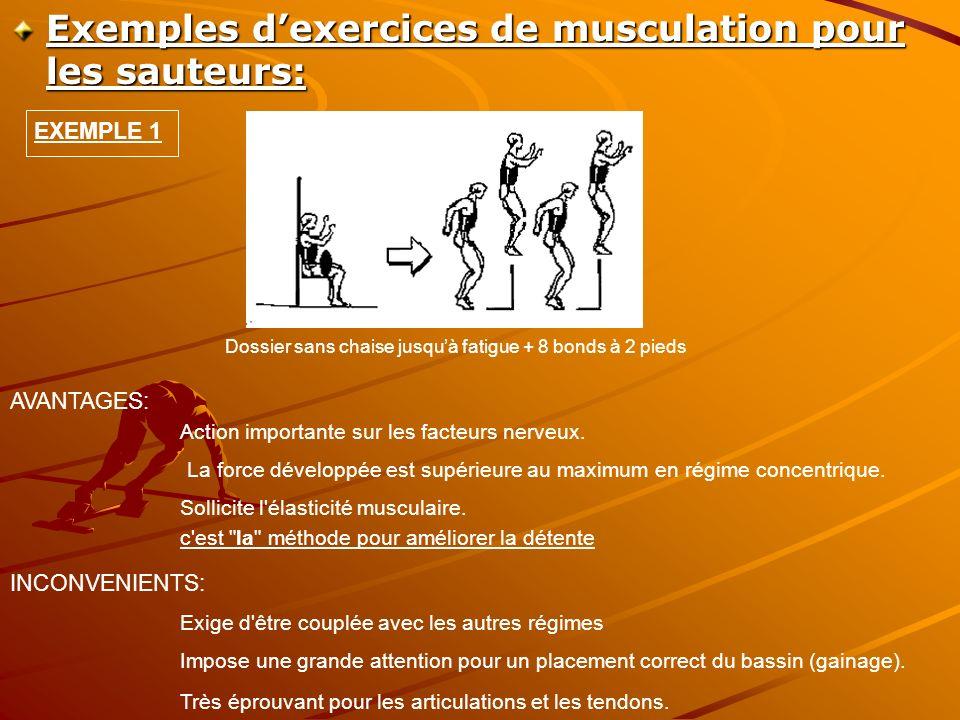 Exemples dexercices de musculation pour les sauteurs: Dossier sans chaise jusquà fatigue + 8 bonds à 2 pieds AVANTAGES: Action importante sur les facteurs nerveux.