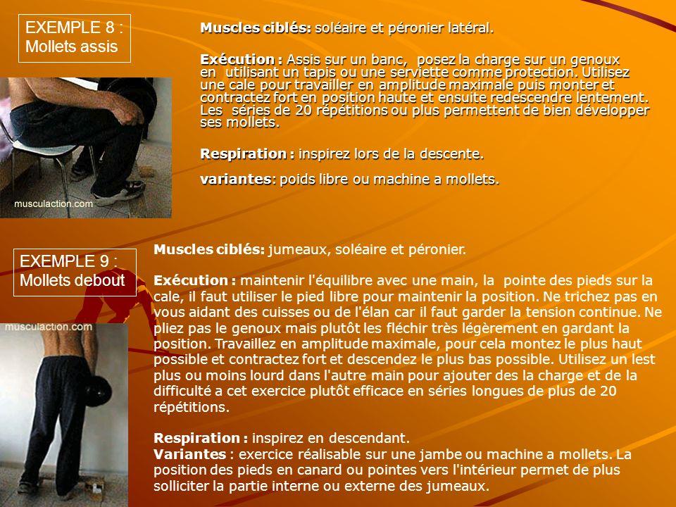 Muscles ciblés: soléaire et péronier latéral. Exécution : Assis sur un banc, posez la charge sur un genoux en utilisant un tapis ou une serviette comm