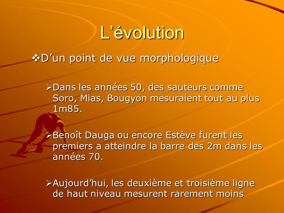 Lévolution Dun point de vue morphologique Dun point de vue morphologique Dans les années 50, des sauteurs comme Soro, Mias, Bougyon mesuraient tout au plus 1m85.