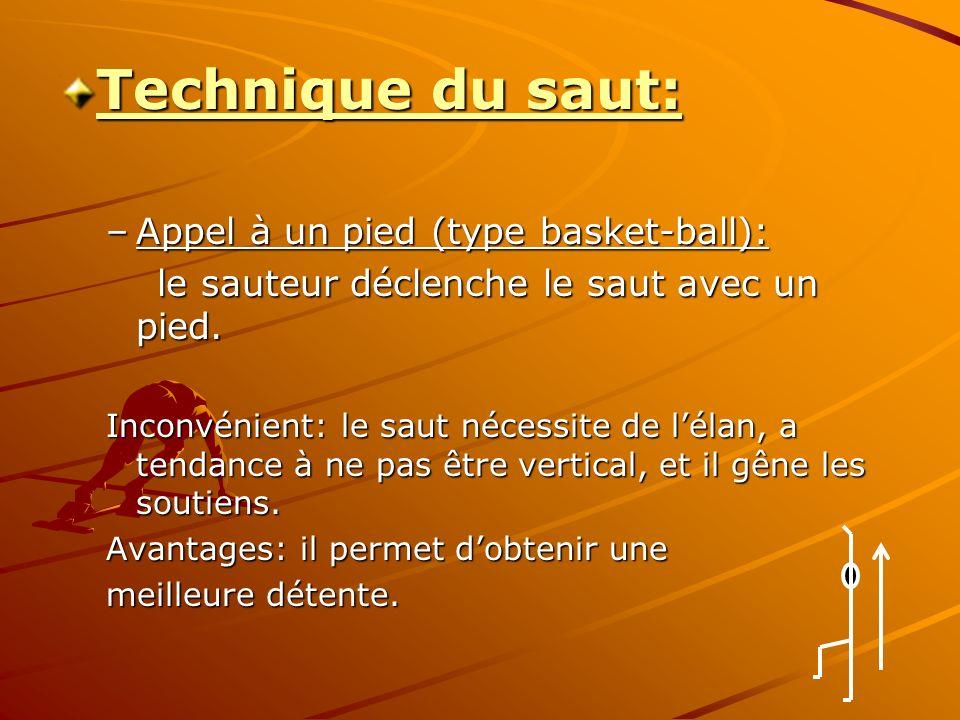 Technique du saut: –Appel à un pied (type basket-ball): le sauteur déclenche le saut avec un pied.