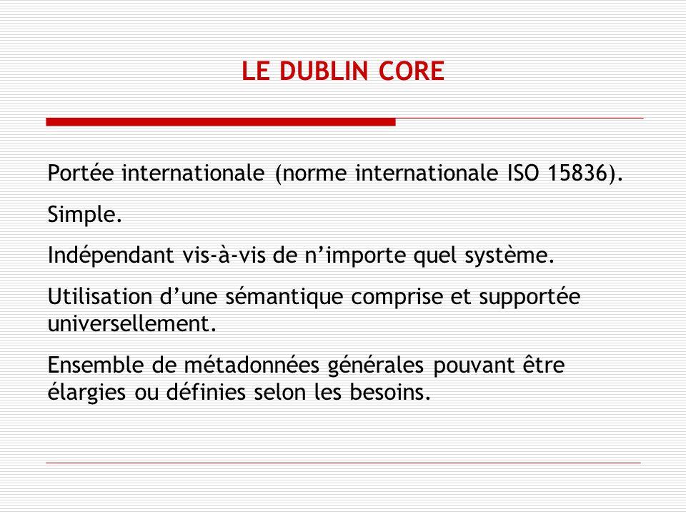 Portée internationale (norme internationale ISO 15836).
