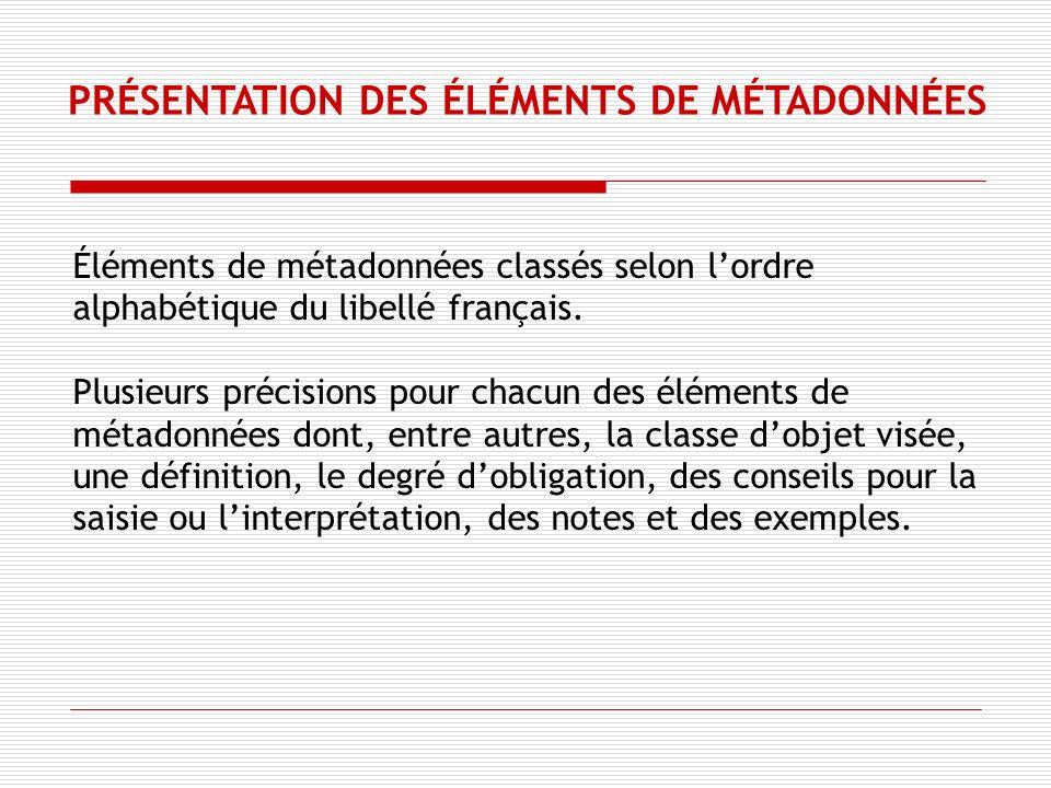 Éléments de métadonnées classés selon lordre alphabétique du libellé français.