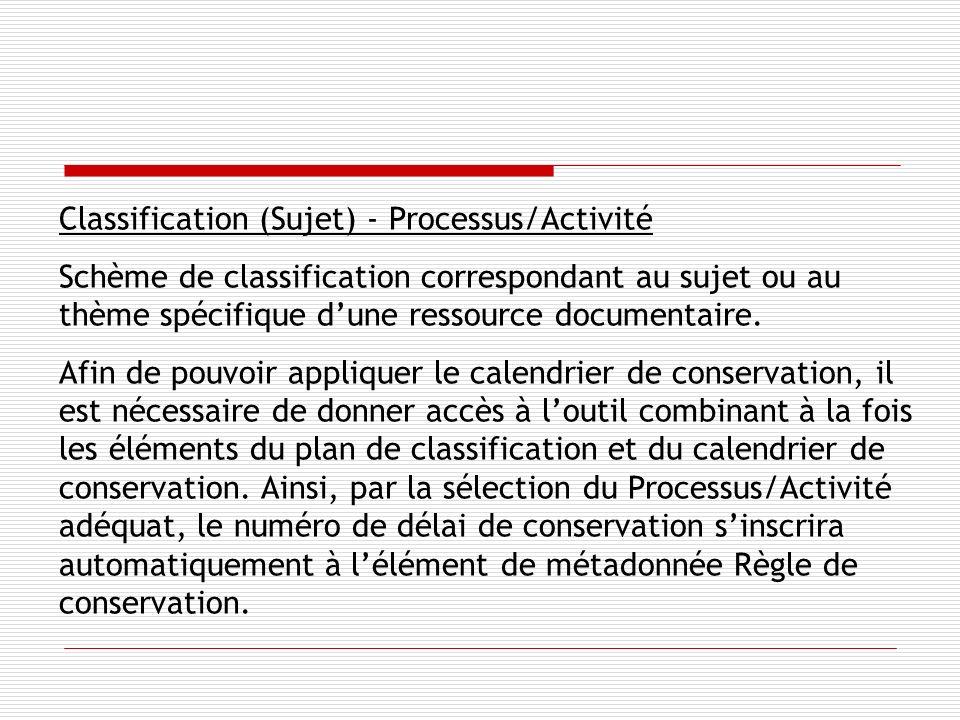 Classification (Sujet) - Processus/Activité Schème de classification correspondant au sujet ou au thème spécifique dune ressource documentaire.