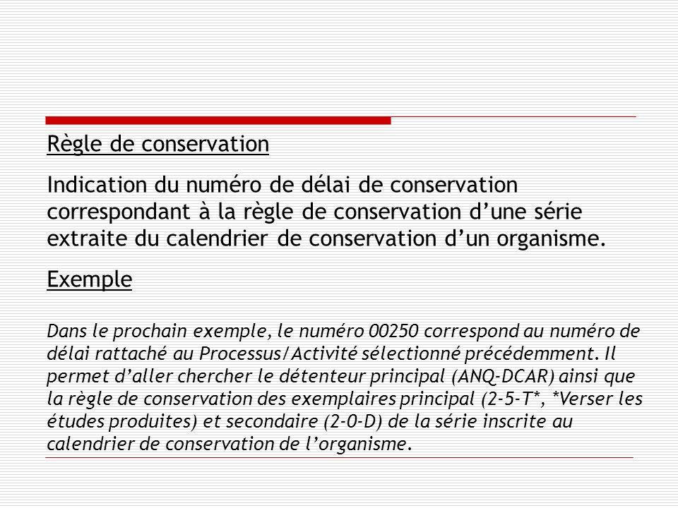 Règle de conservation Indication du numéro de délai de conservation correspondant à la règle de conservation dune série extraite du calendrier de conservation dun organisme.