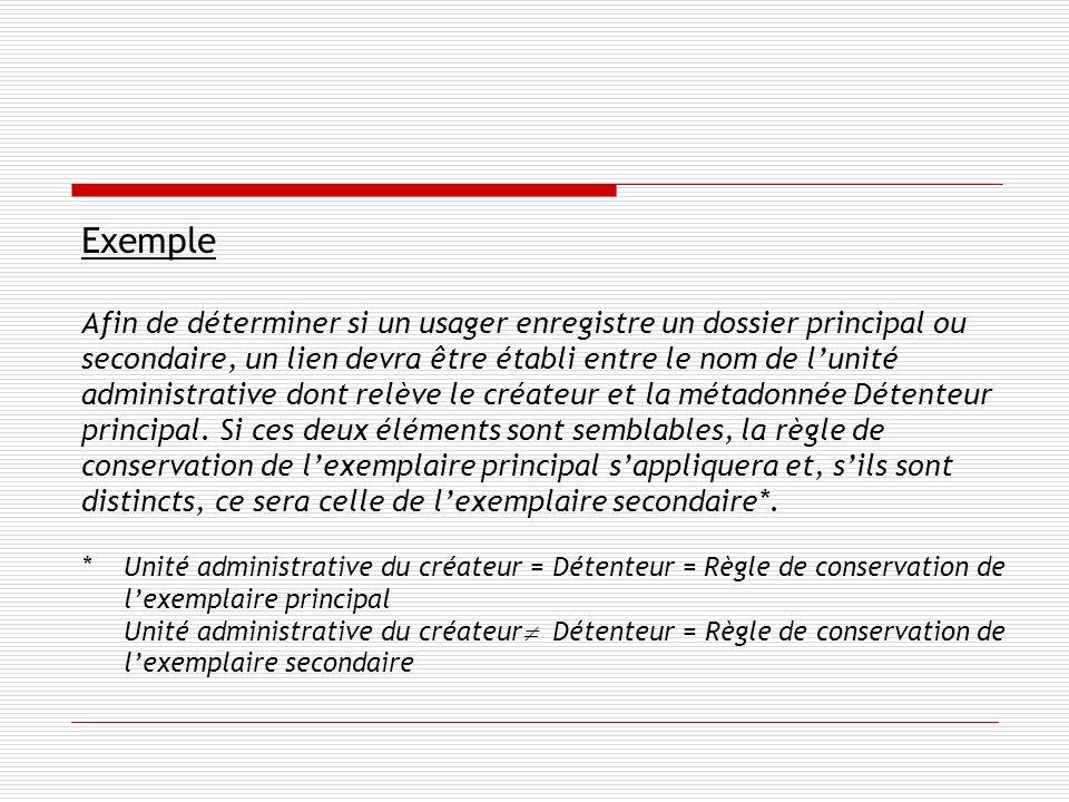 Exemple Afin de déterminer si un usager enregistre un dossier principal ou secondaire, un lien devra être établi entre le nom de lunité administrative dont relève le créateur et la métadonnée Détenteur principal.