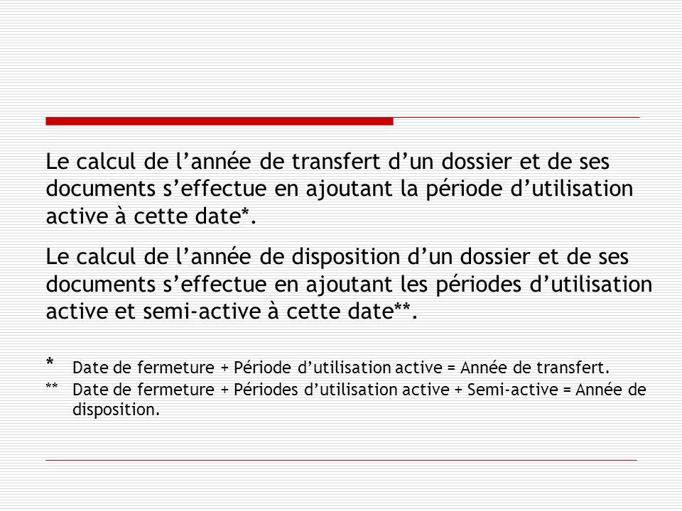 Le calcul de lannée de transfert dun dossier et de ses documents seffectue en ajoutant la période dutilisation active à cette date*.