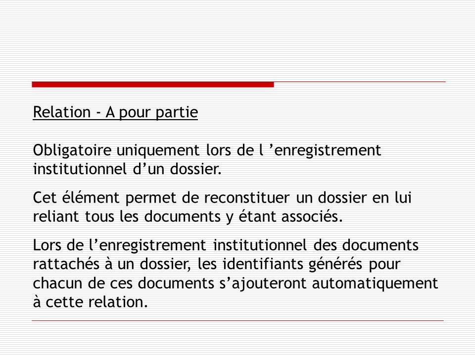 Relation - A pour partie Obligatoire uniquement lors de l enregistrement institutionnel dun dossier.