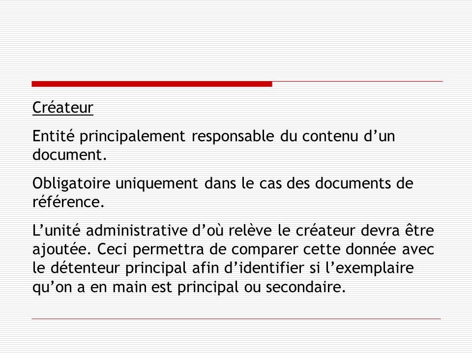 Créateur Entité principalement responsable du contenu dun document.