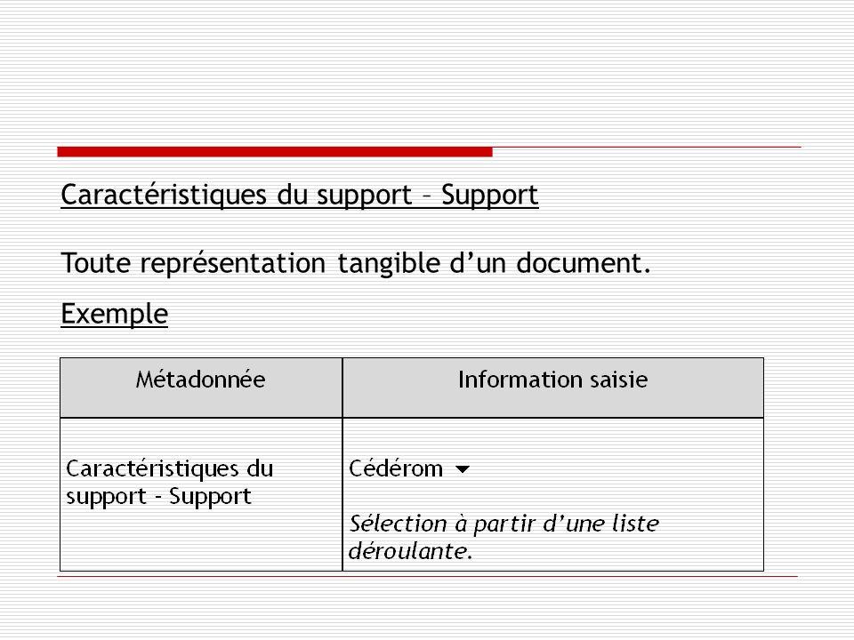 Caractéristiques du support – Support Toute représentation tangible dun document. Exemple