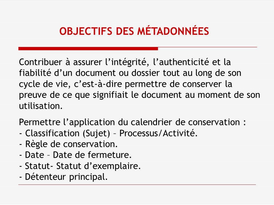 OBJECTIFS DES MÉTADONNÉES Contribuer à assurer lintégrité, lauthenticité et la fiabilité dun document ou dossier tout au long de son cycle de vie, cest-à-dire permettre de conserver la preuve de ce que signifiait le document au moment de son utilisation.