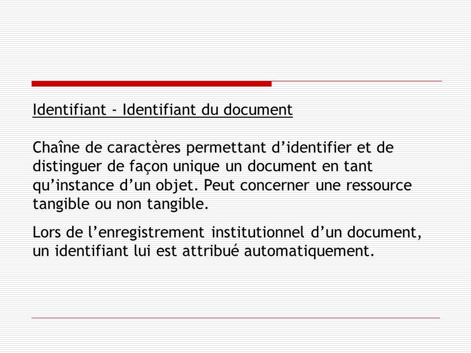 Identifiant - Identifiant du document Chaîne de caractères permettant didentifier et de distinguer de façon unique un document en tant quinstance dun objet.