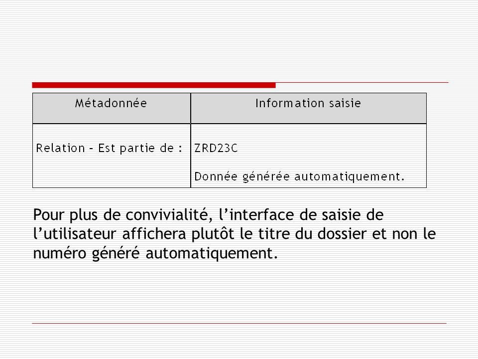 Pour plus de convivialité, linterface de saisie de lutilisateur affichera plutôt le titre du dossier et non le numéro généré automatiquement.