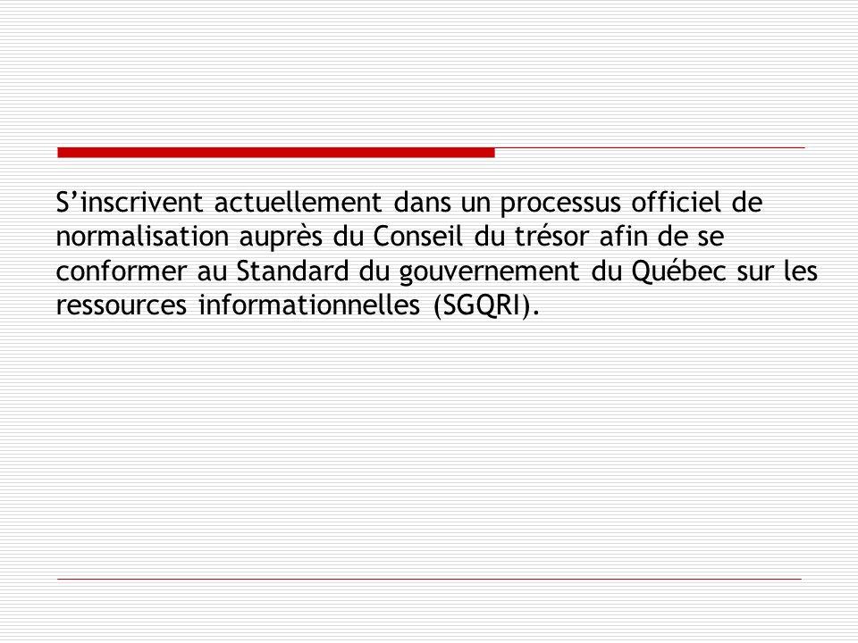 Sinscrivent actuellement dans un processus officiel de normalisation auprès du Conseil du trésor afin de se conformer au Standard du gouvernement du Québec sur les ressources informationnelles (SGQRI).