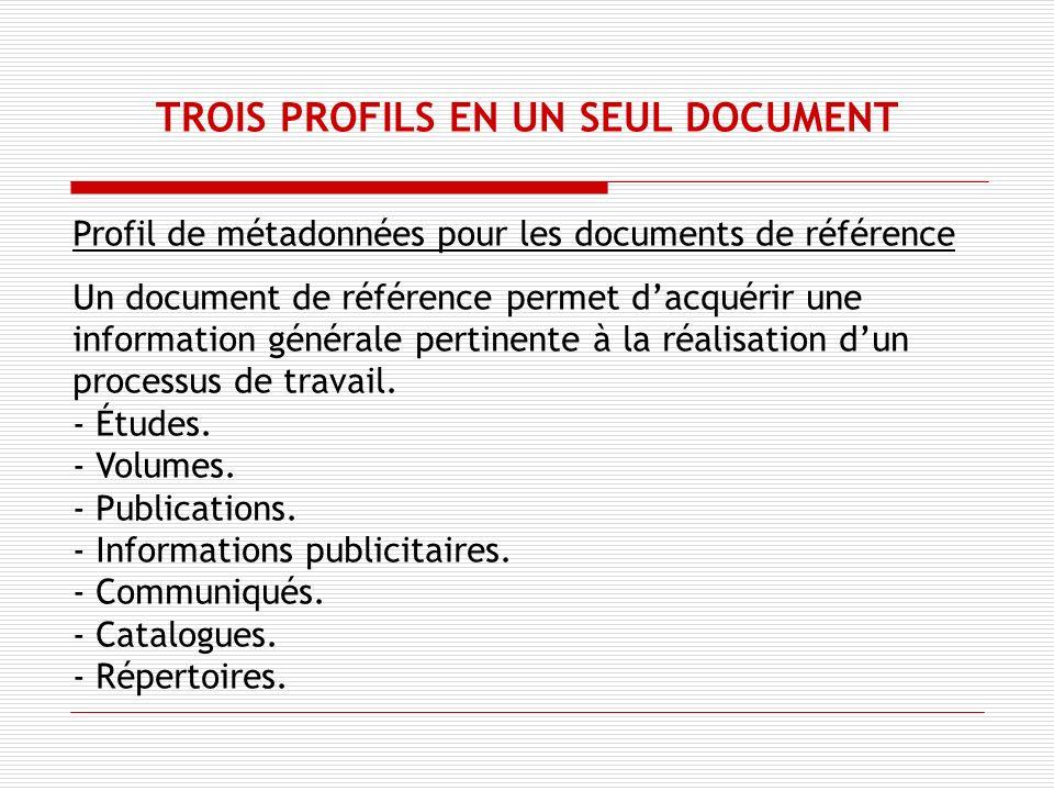 Profil de métadonnées pour les documents de référence Un document de référence permet dacquérir une information générale pertinente à la réalisation dun processus de travail.