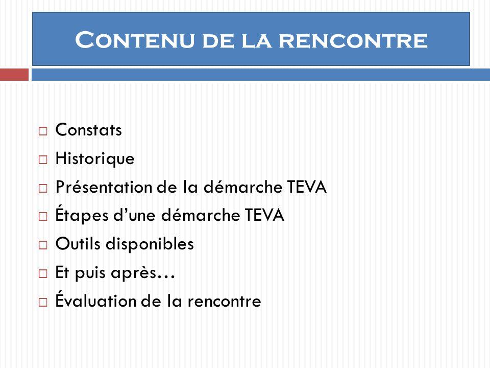 Contenu de la rencontre Constats Historique Présentation de la démarche TEVA Étapes dune démarche TEVA Outils disponibles Et puis après… Évaluation de la rencontre