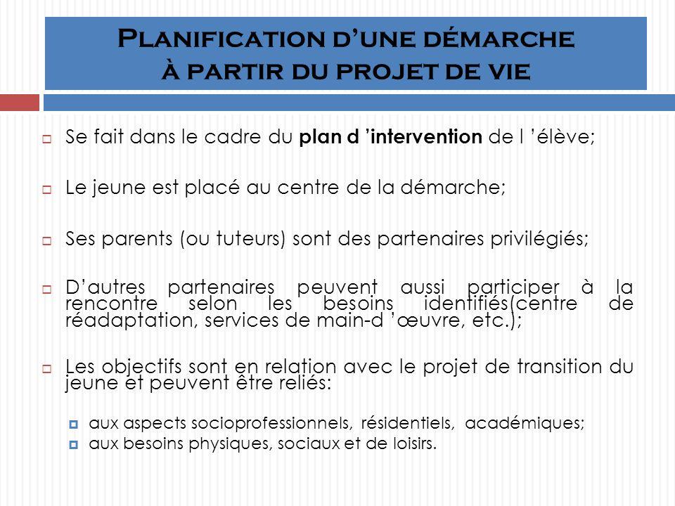 Planification dune démarche à partir du projet de vie Se fait dans le cadre du plan d intervention de l élève; Le jeune est placé au centre de la démarche; Ses parents (ou tuteurs) sont des partenaires privilégiés; Dautres partenaires peuvent aussi participer à la rencontre selon les besoins identifiés(centre de réadaptation, services de main-d œuvre, etc.); Les objectifs sont en relation avec le projet de transition du jeune et peuvent être reliés: aux aspects socioprofessionnels, résidentiels, académiques; aux besoins physiques, sociaux et de loisirs.