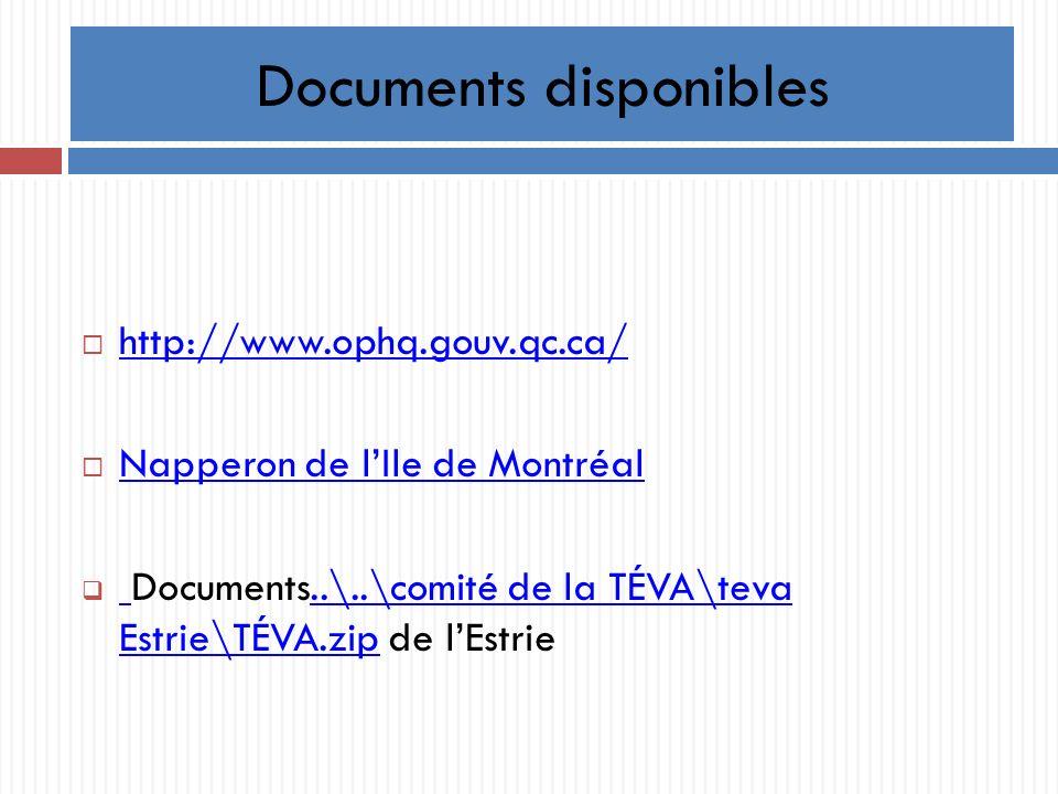 Documents disponibles http://www.ophq.gouv.qc.ca/ Napperon de lIle de Montréal Documents..\..\comité de la TÉVA\teva Estrie\TÉVA.zip de lEstrie..\..\comité de la TÉVA\teva Estrie\TÉVA.zip