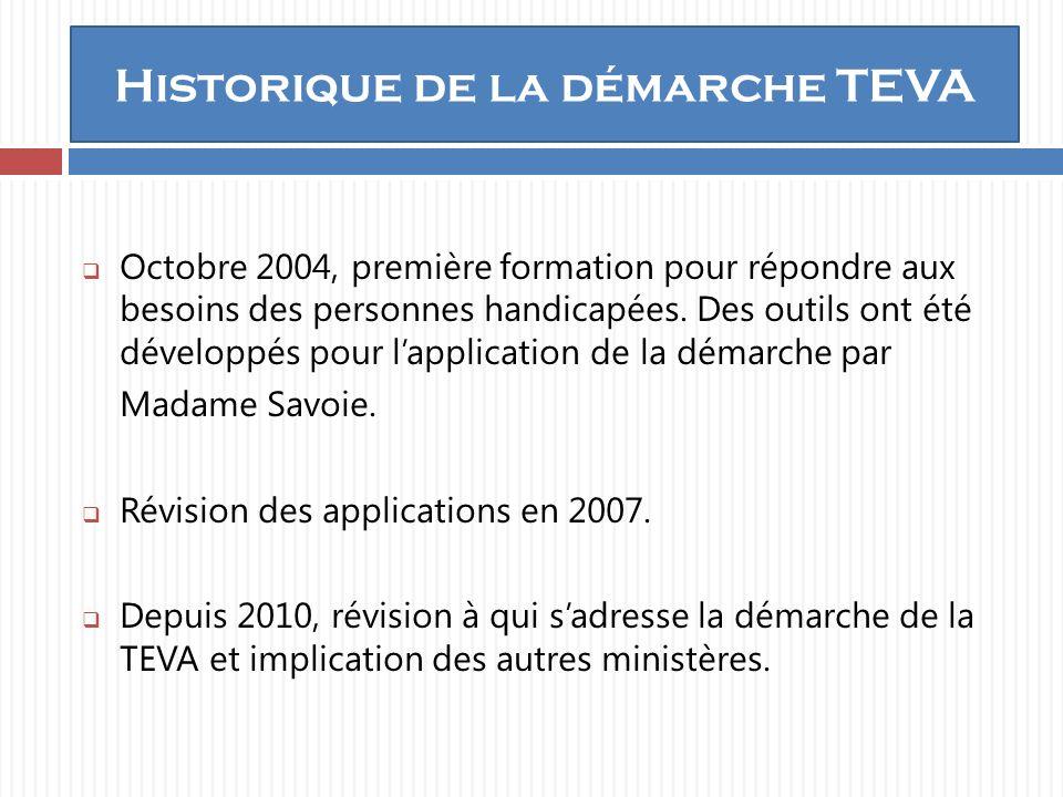 Historique de la démarche TEVA Octobre 2004, première formation pour répondre aux besoins des personnes handicapées.