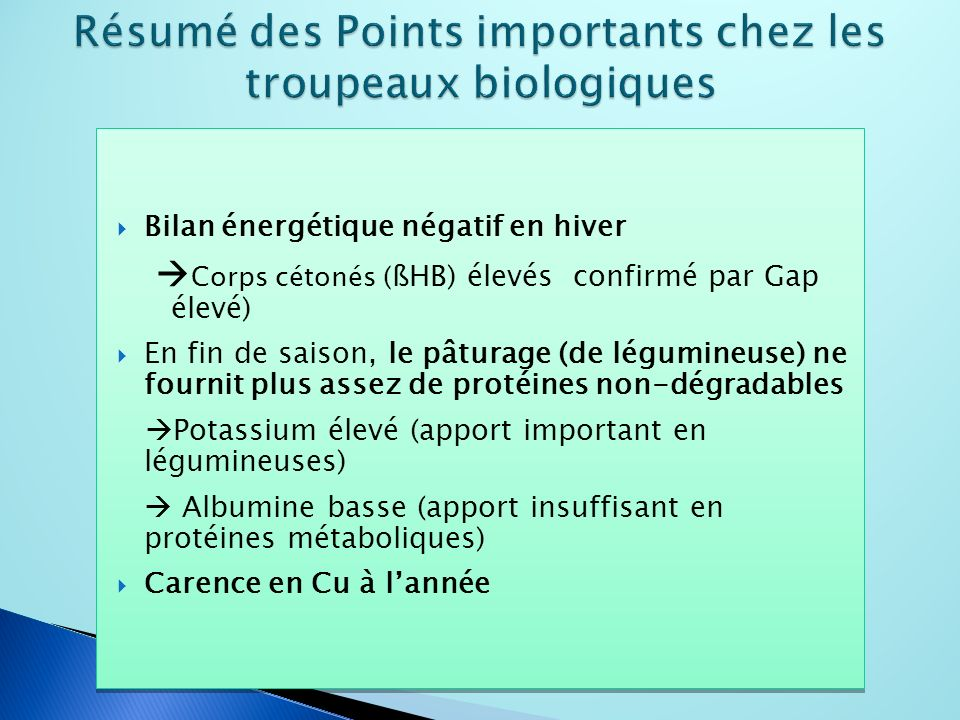 Bilan énergétique négatif en hiver Corps cétonés ( ßHB) élevés confirmé par Gap élevé) En fin de saison, le pâturage (de légumineuse) ne fournit plus assez de protéines non-dégradables Potassium élevé (apport important en légumineuses) Albumine basse (apport insuffisant en protéines métaboliques) Carence en Cu à lannée Bilan énergétique négatif en hiver Corps cétonés ( ßHB) élevés confirmé par Gap élevé) En fin de saison, le pâturage (de légumineuse) ne fournit plus assez de protéines non-dégradables Potassium élevé (apport important en légumineuses) Albumine basse (apport insuffisant en protéines métaboliques) Carence en Cu à lannée
