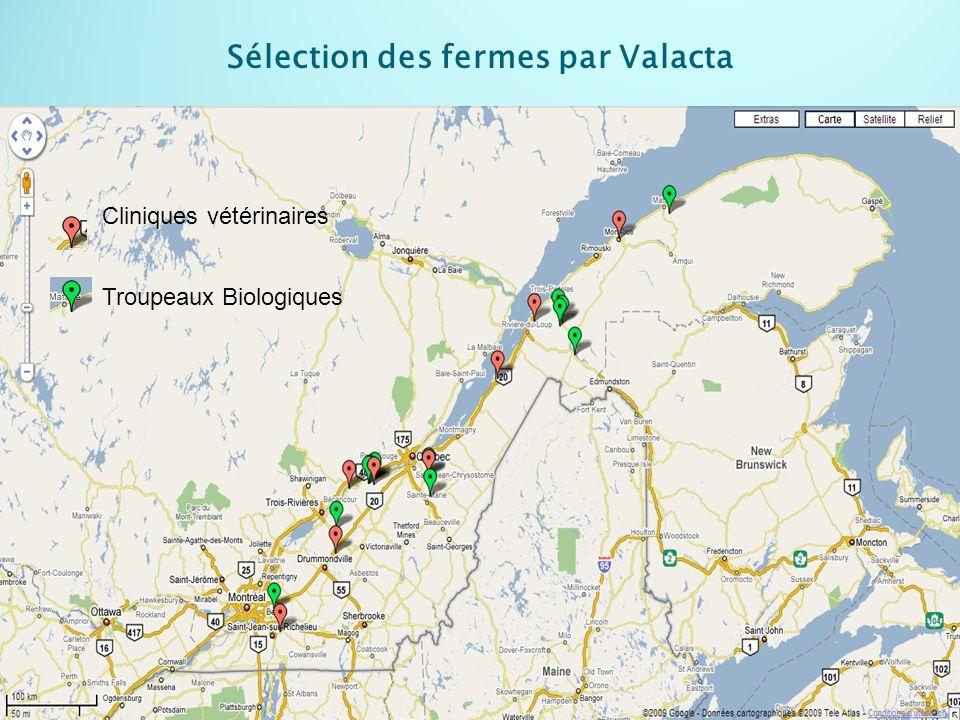 Sélection des fermes par Valacta Cliniques vétérinaires Troupeaux Biologiques
