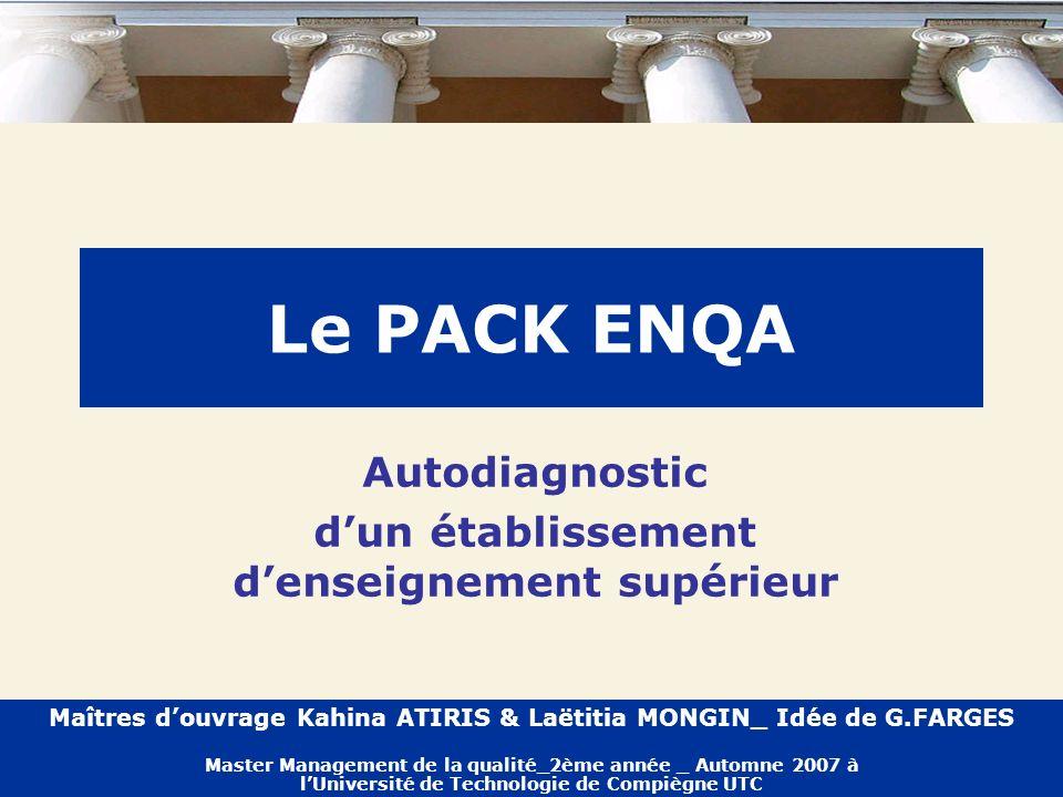 Le PACK ENQA Autodiagnostic dun établissement denseignement supérieur Maîtres douvrage Kahina ATIRIS & Laëtitia MONGIN_ Idée de G.FARGES Master Manage