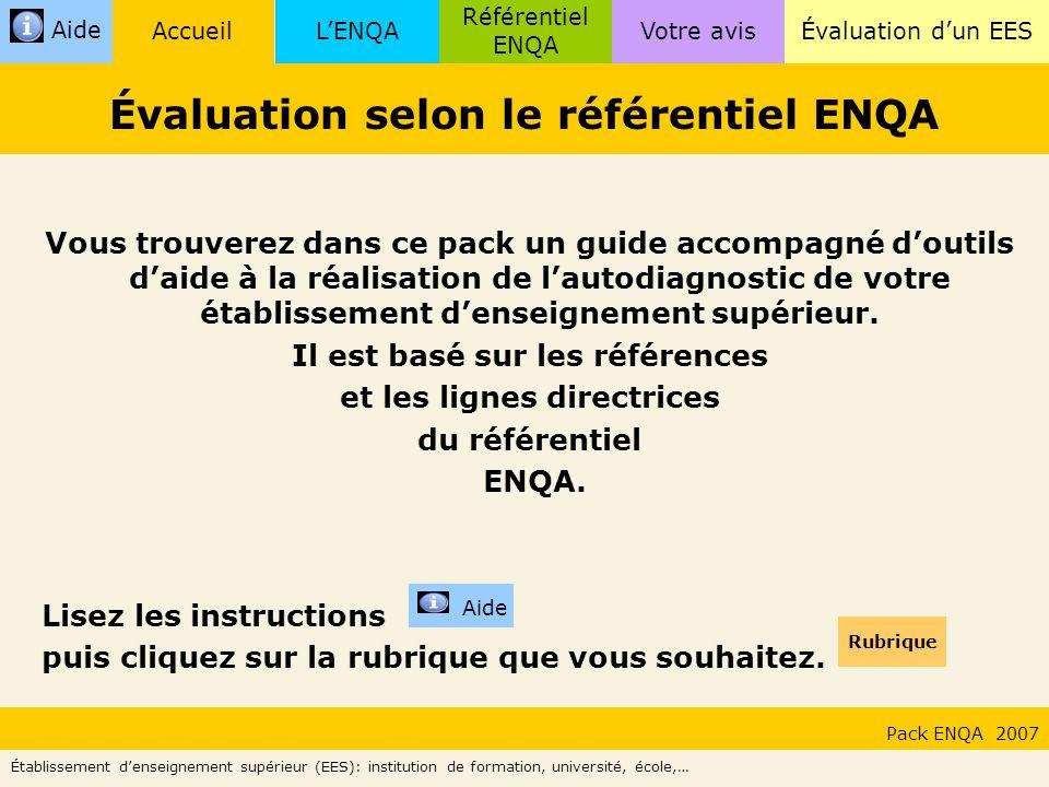 LENQA Référentiel ENQA Évaluation dun EESVotre avisAccueil Aide ENQA : European Association for Quality Assurance in Higher Education.