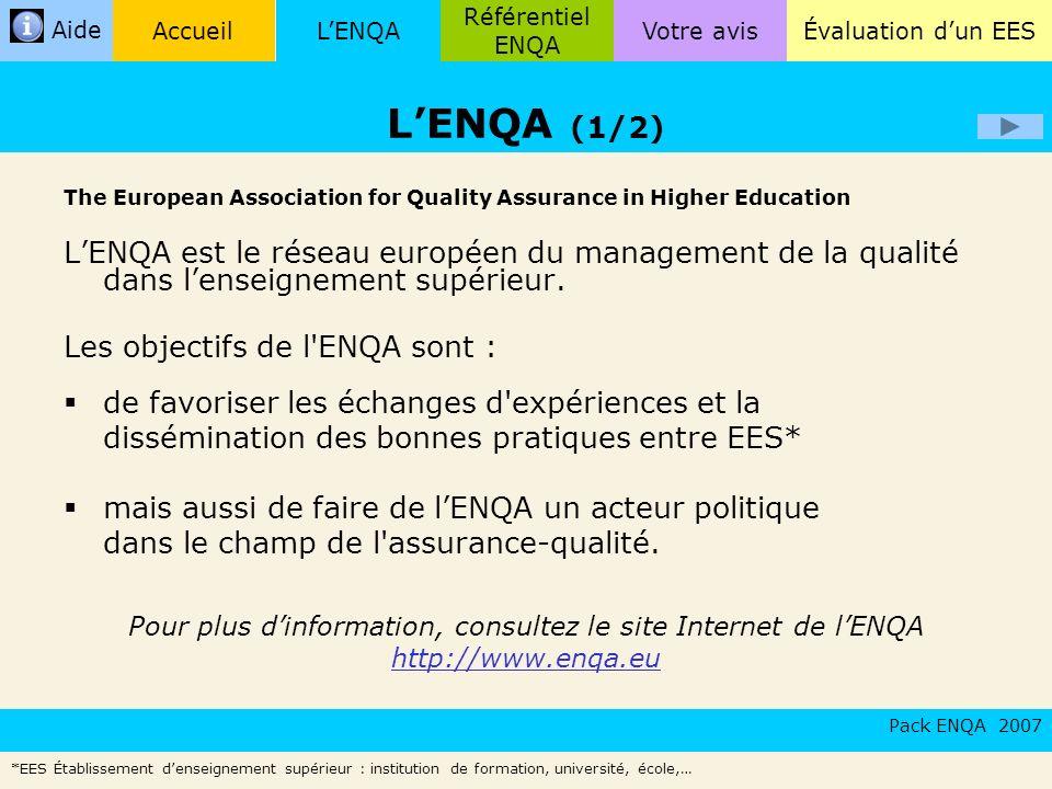 LENQA Référentiel ENQA Évaluation dun EESVotre avisAccueil Aide The European Association for Quality Assurance in Higher Education LENQA est le réseau