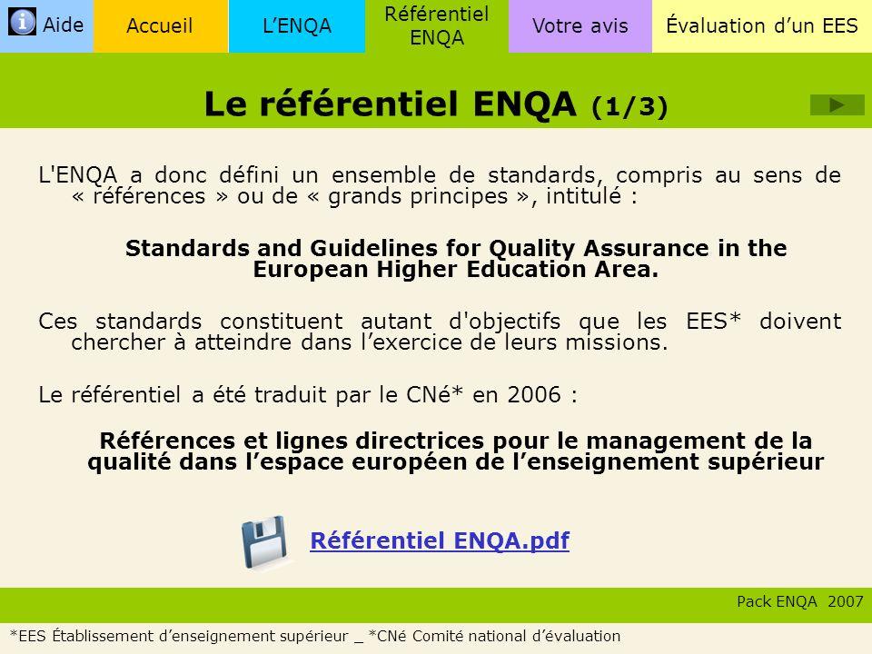 LENQA Référentiel ENQA Évaluation dun EESVotre avisAccueil Aide Ce référentiel est constitué de trois grands chapitres : Le référentiel ENQA (2/2) Pack ENQA 2007 Référentie l ENQA Ce pack a été élaboré uniquement pour lévaluation dun EES* correspondant au chapitre 1 du référentiel ENQA.