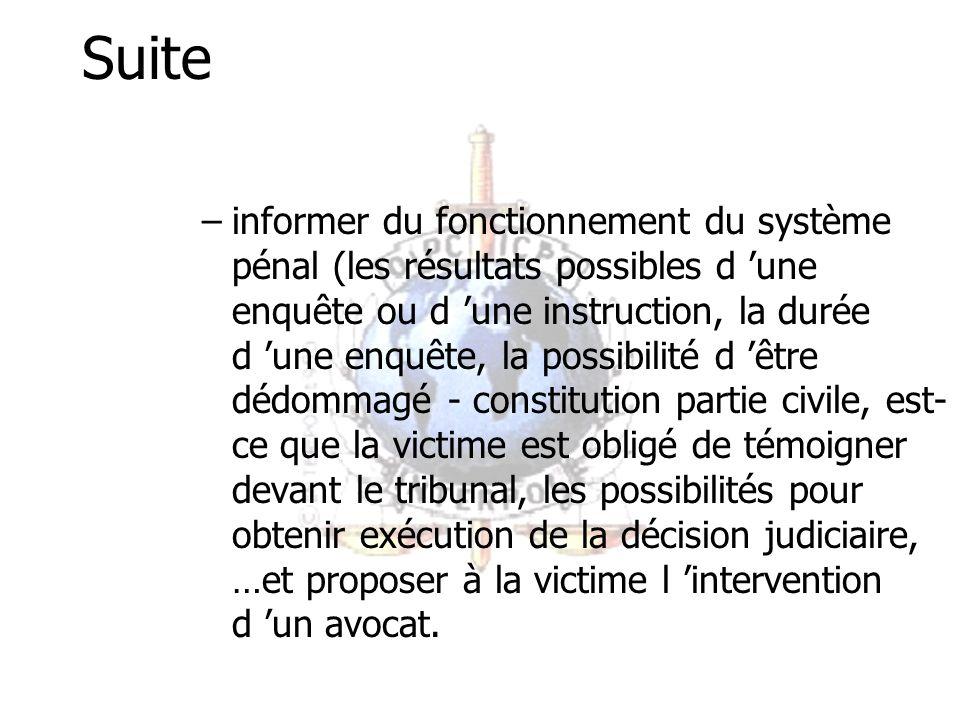 Suite –Informer des choix possible –informer des risques éventuels –informer des conditions liées à une procédure judiciaire et à la procédure de régulation administrative –informer du suivi juridique du dossier