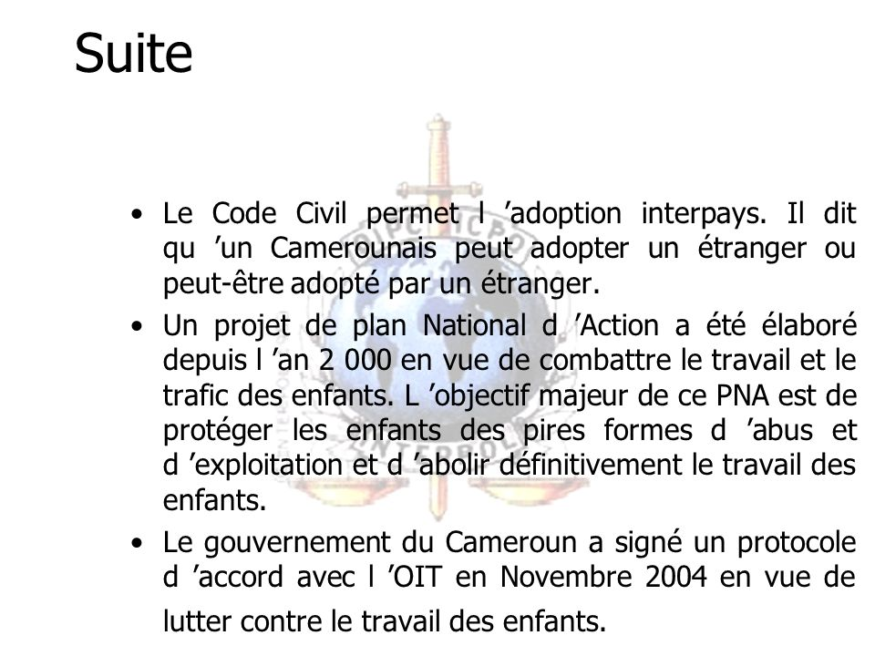 Suite Selon le Décret du 30 Octobre 1935 relatif à la protection de l enfance.
