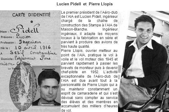 Lucien Pidell et Pierre Llopis Le premier président de lAéro-club de lAIA est Lucien Pidell, ingénieur chargé de la chaîne de construction des Stampe