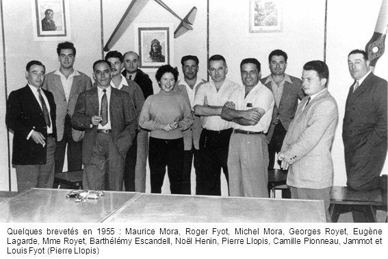 Quelques brevetés en 1955 : Maurice Mora, Roger Fyot, Michel Mora, Georges Royet, Eugène Lagarde, Mme Royet, Barthélémy Escandell, Noël Henin, Pierre