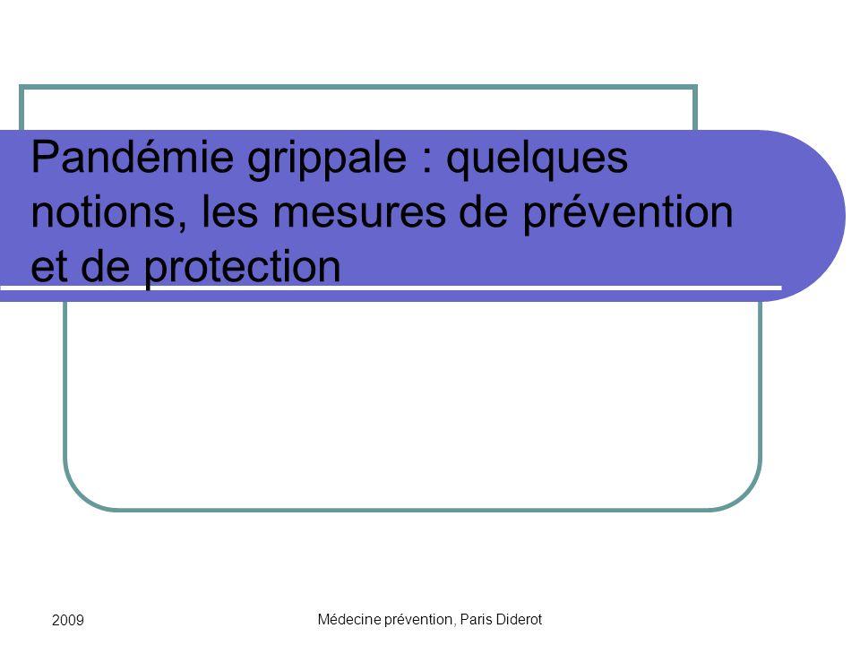 2009 Médecine prévention, Paris Diderot Pandémie grippale : quelques notions, les mesures de prévention et de protection