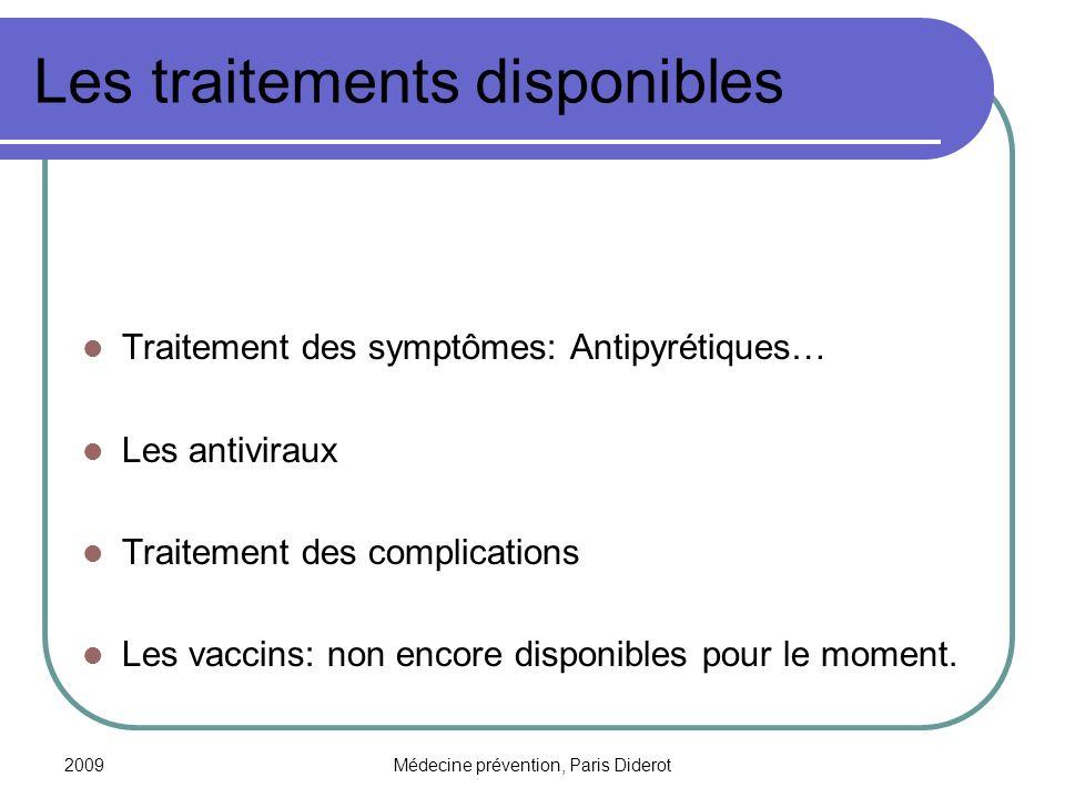 2009Médecine prévention, Paris Diderot Les traitements disponibles Traitement des symptômes: Antipyrétiques… Les antiviraux Traitement des complicatio