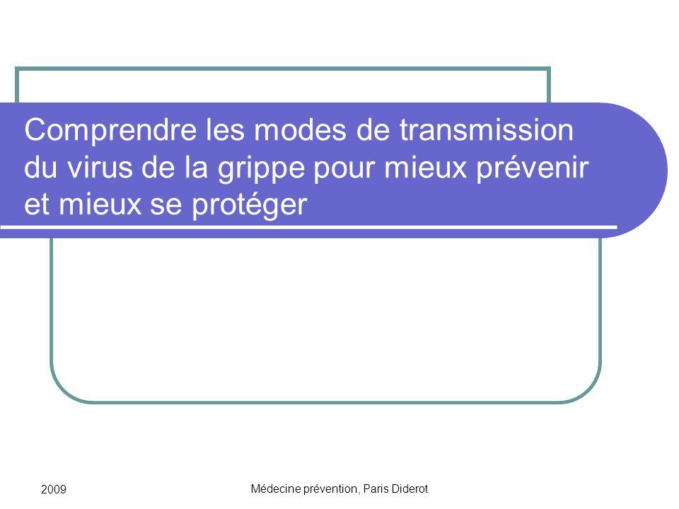 2009 Médecine prévention, Paris Diderot Comprendre les modes de transmission du virus de la grippe pour mieux prévenir et mieux se protéger