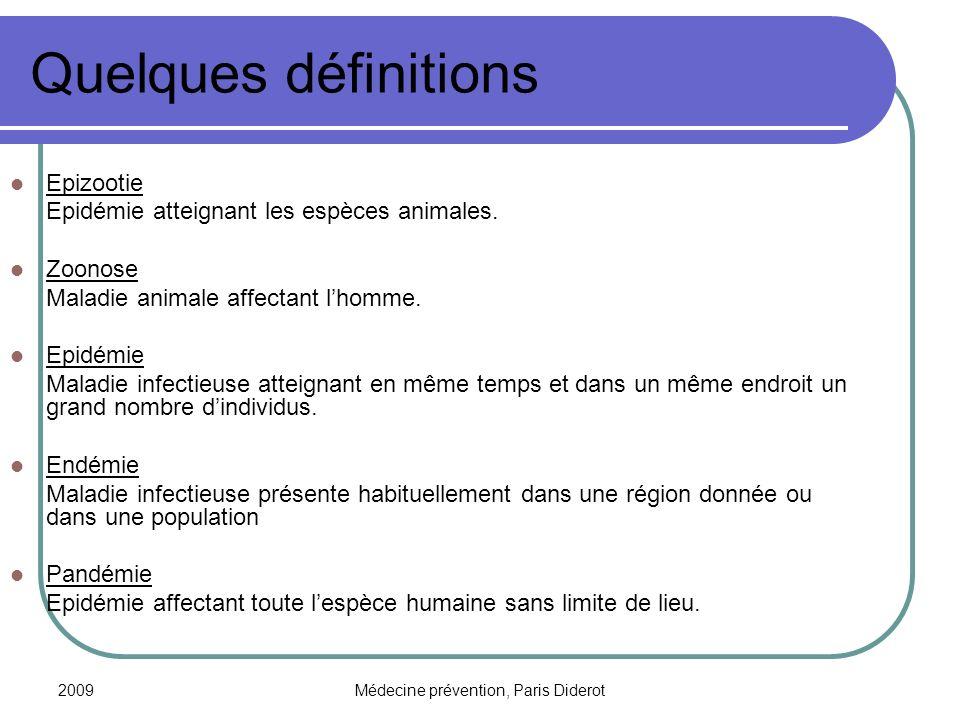 2009Médecine prévention, Paris Diderot Quelques définitions Epizootie Epidémie atteignant les espèces animales. Zoonose Maladie animale affectant lhom