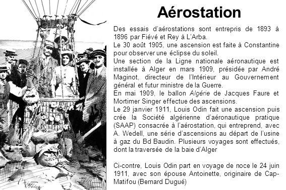 Des essais daérostations sont entrepris de 1893 à 1896 par Fiévé et Rey à LArba. Le 30 août 1905, une ascension est faite à Constantine pour observer
