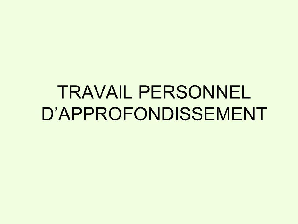 TRAVAIL PERSONNEL DAPPROFONDISSEMENT