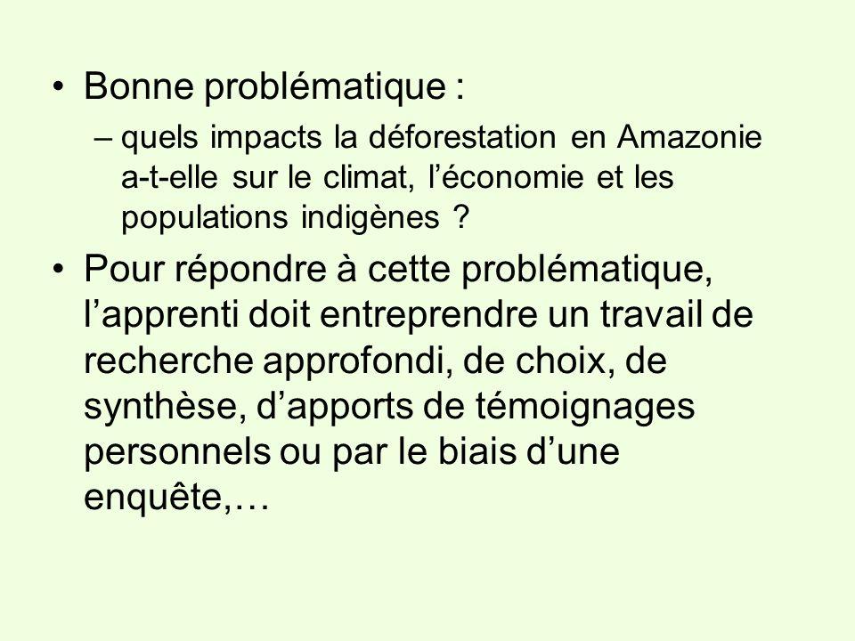 Bonne problématique : –quels impacts la déforestation en Amazonie a-t-elle sur le climat, léconomie et les populations indigènes ? Pour répondre à cet
