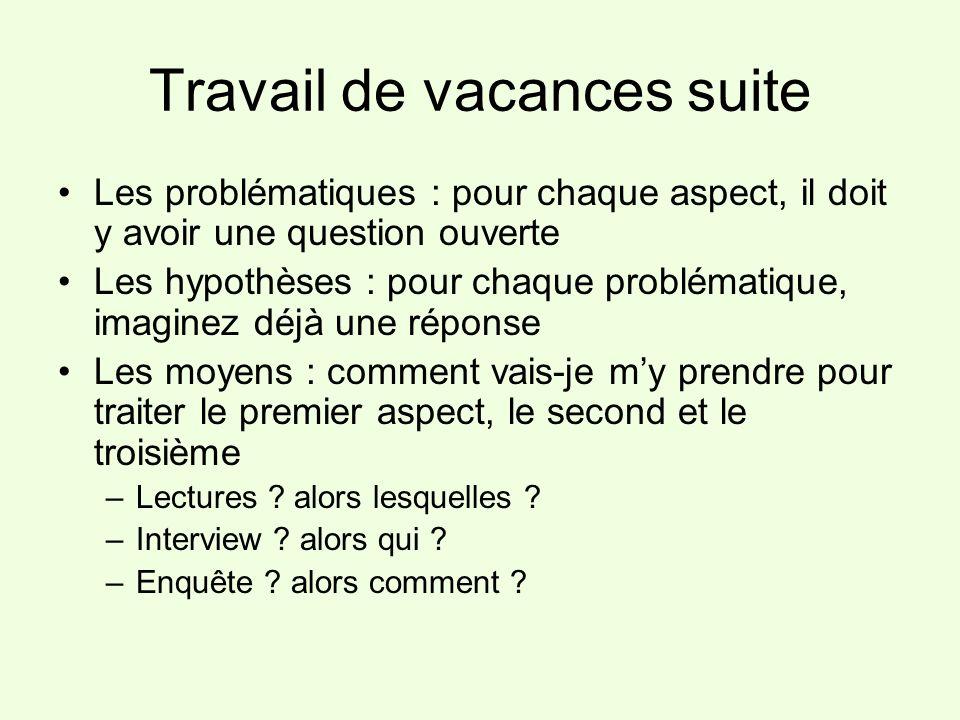 Travail de vacances suite Les problématiques : pour chaque aspect, il doit y avoir une question ouverte Les hypothèses : pour chaque problématique, im