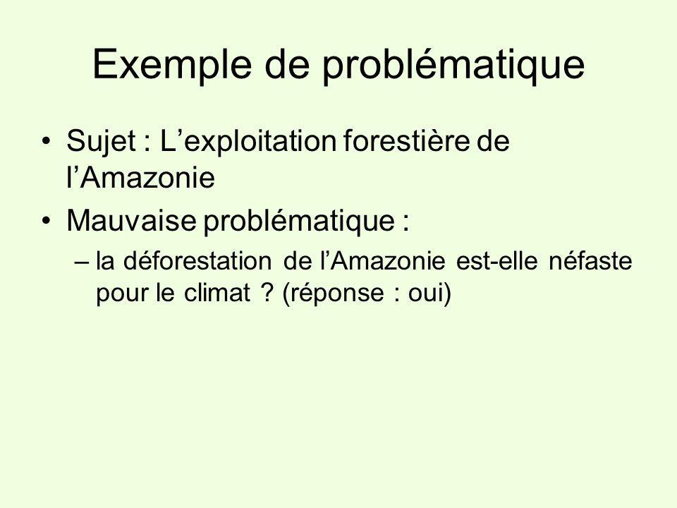 Exemple de problématique Sujet : Lexploitation forestière de lAmazonie Mauvaise problématique : –la déforestation de lAmazonie est-elle néfaste pour l
